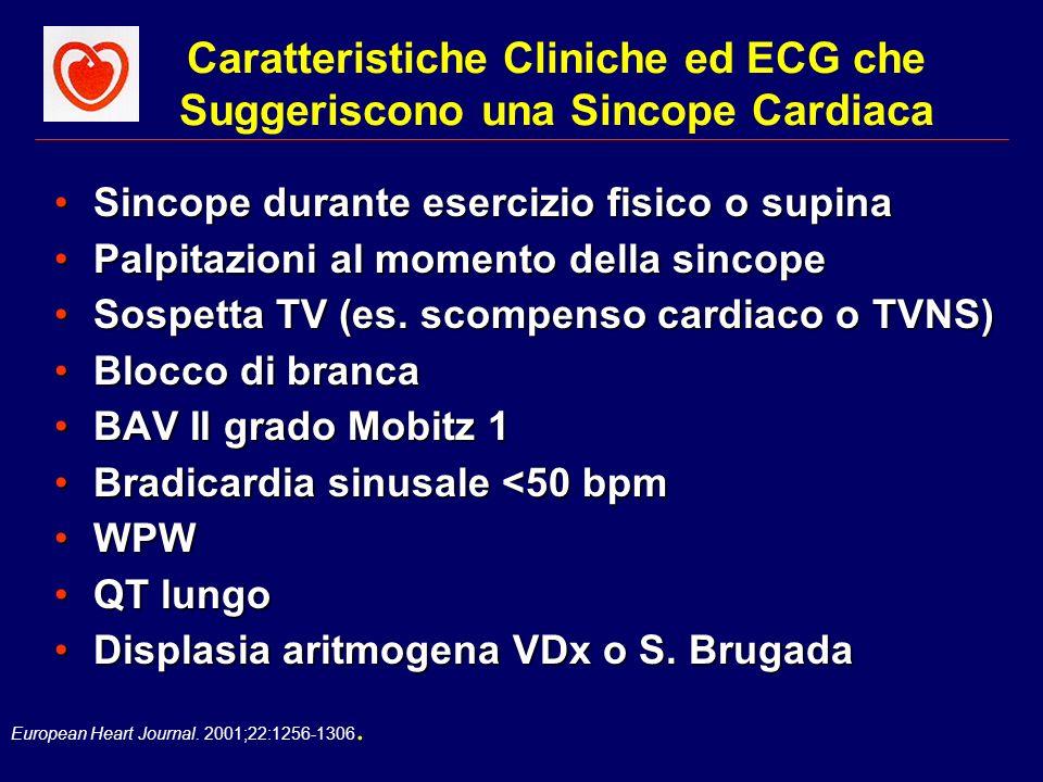 Caratteristiche Cliniche ed ECG che Suggeriscono una Sincope Cardiaca