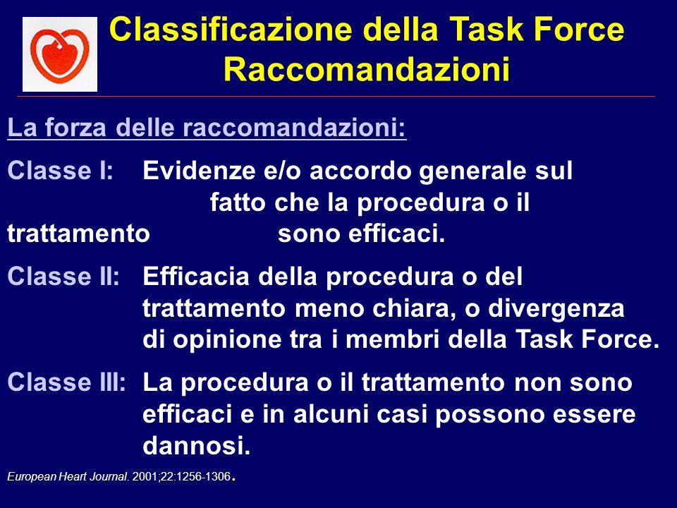 Classificazione della Task Force Raccomandazioni