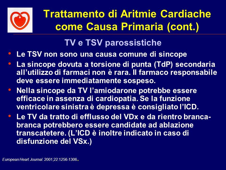 Trattamento di Aritmie Cardiache come Causa Primaria (cont.)