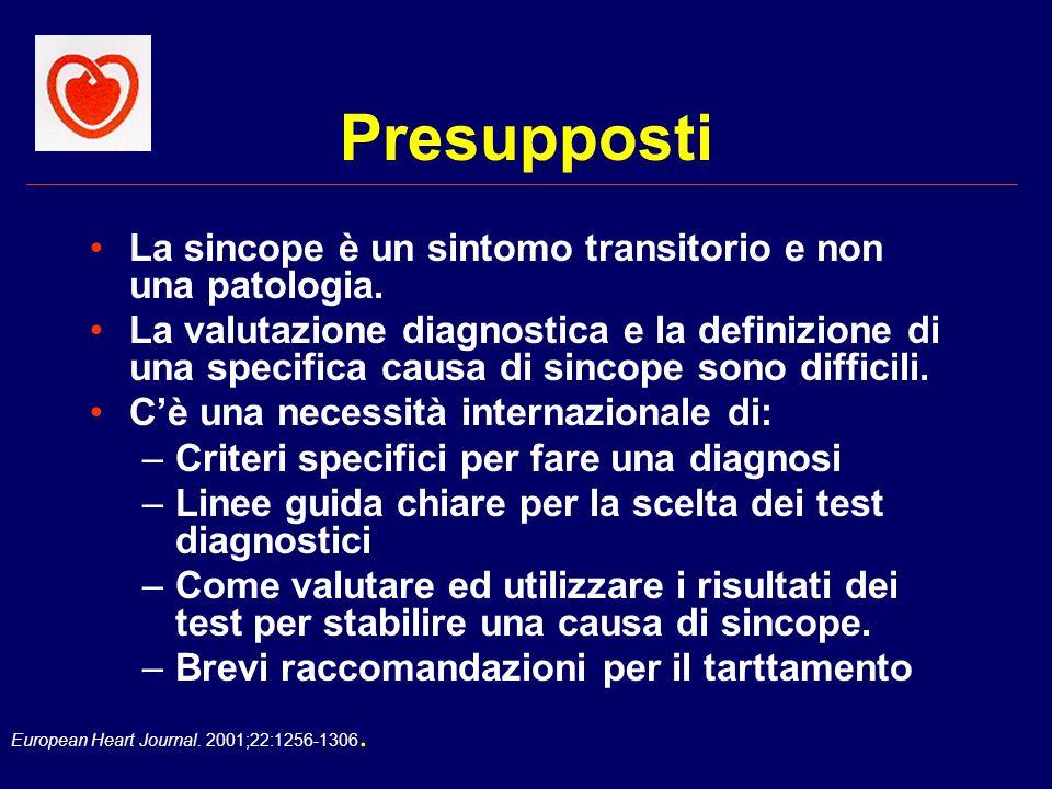 Presupposti La sincope è un sintomo transitorio e non una patologia.