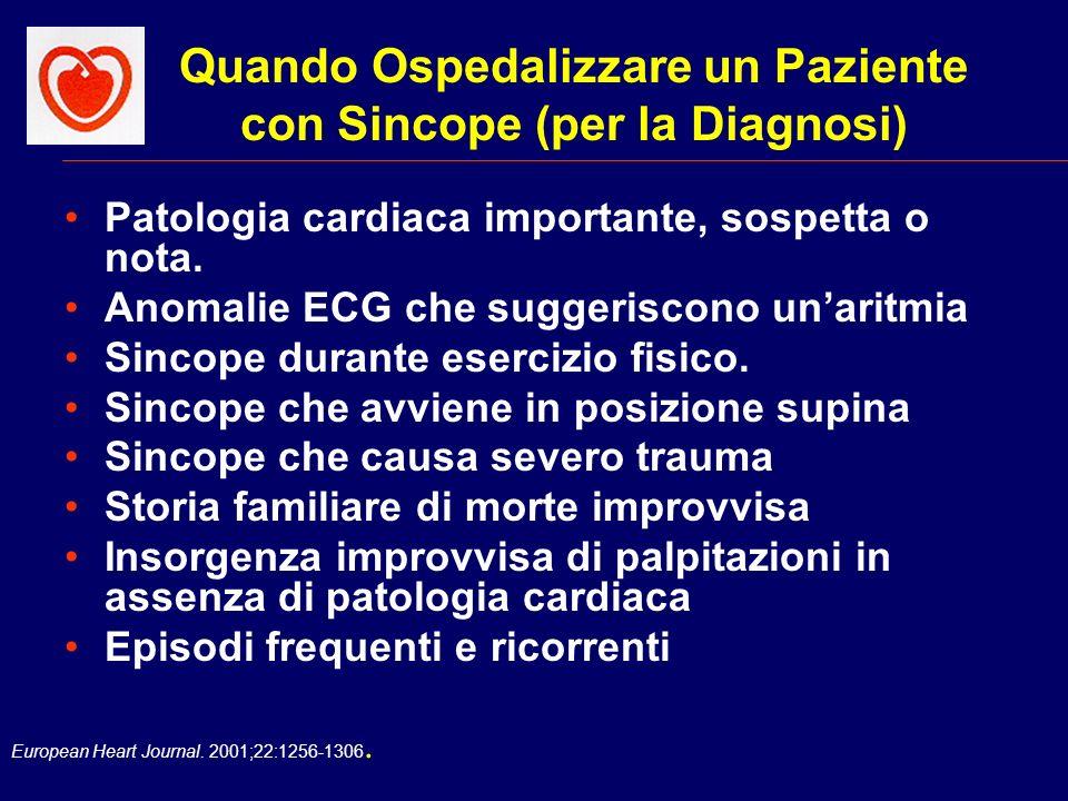 Quando Ospedalizzare un Paziente con Sincope (per la Diagnosi)