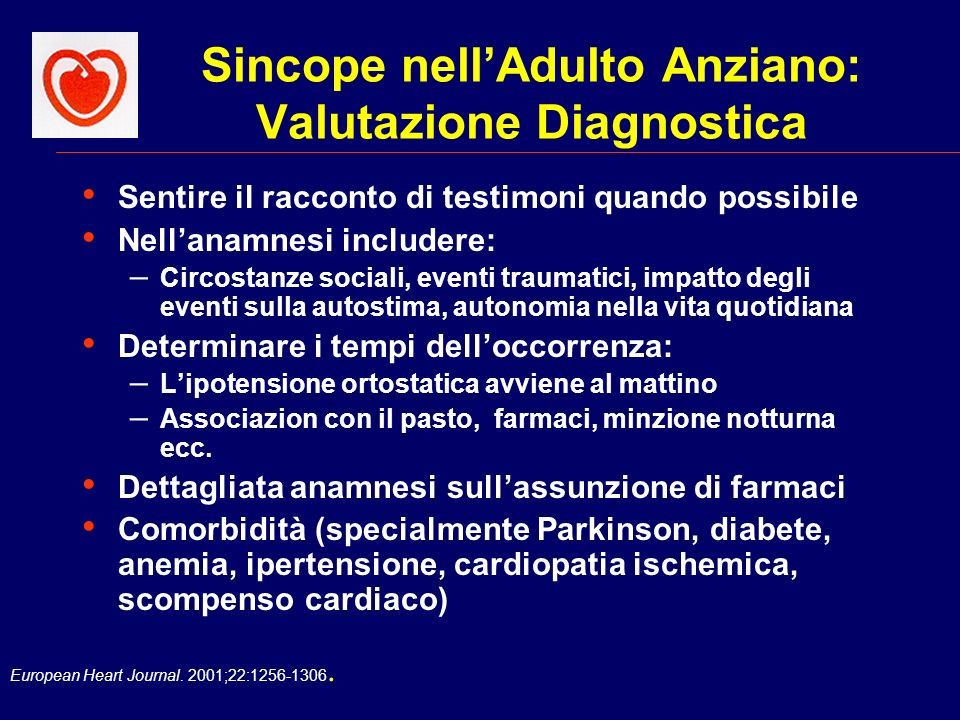 Sincope nell'Adulto Anziano: Valutazione Diagnostica
