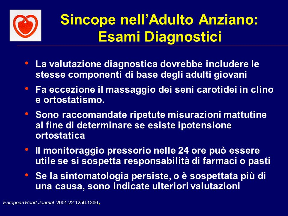 Sincope nell'Adulto Anziano: Esami Diagnostici