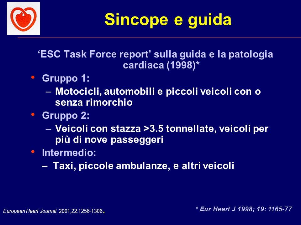'ESC Task Force report' sulla guida e la patologia cardiaca (1998)*