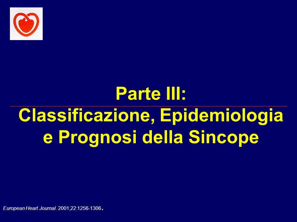 Parte III: Classificazione, Epidemiologia e Prognosi della Sincope