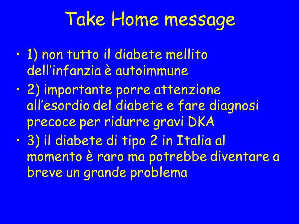 Take Home message 1) non tutto il diabete mellito dell'infanzia è autoimmune.