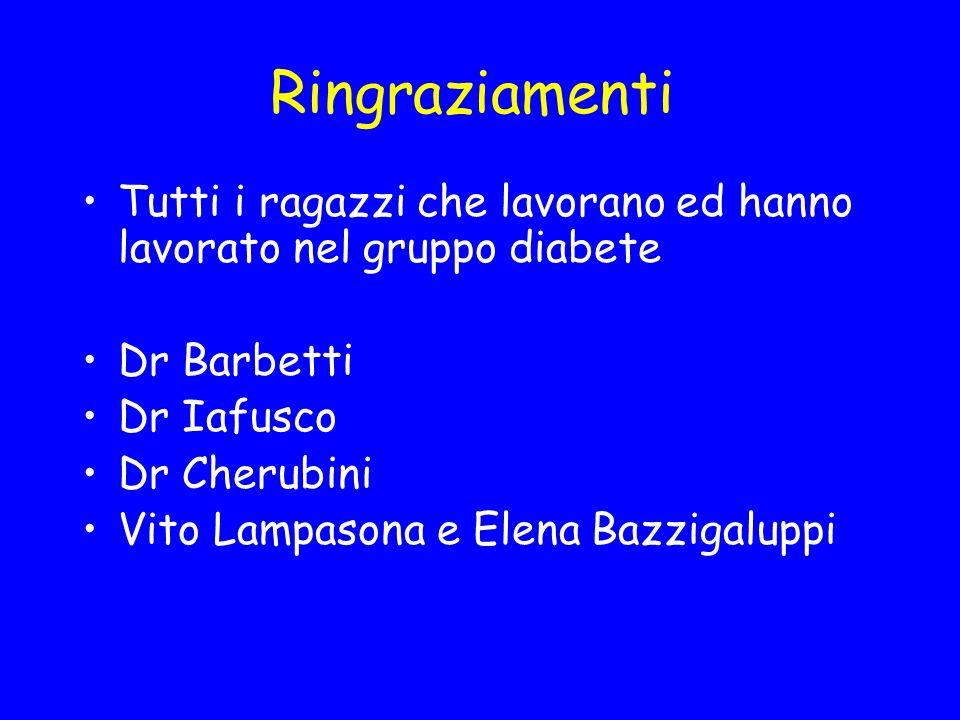 Ringraziamenti Tutti i ragazzi che lavorano ed hanno lavorato nel gruppo diabete. Dr Barbetti. Dr Iafusco.