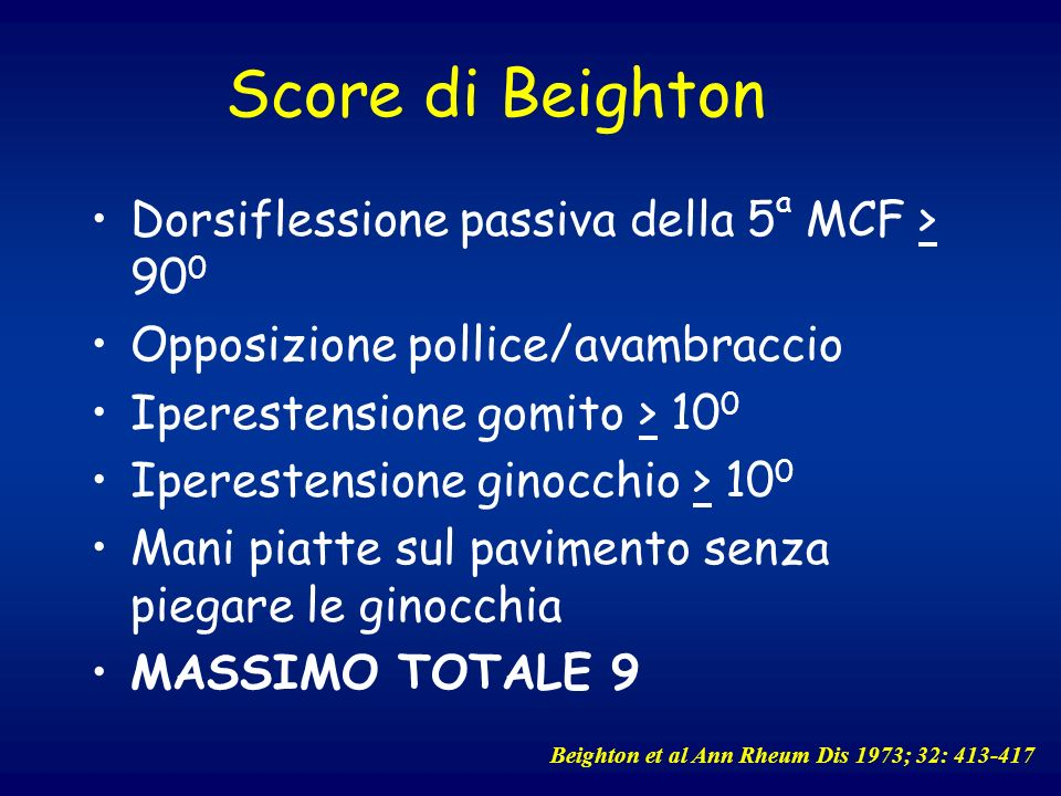 Score di Beighton Dorsiflessione passiva della 5a MCF > 900