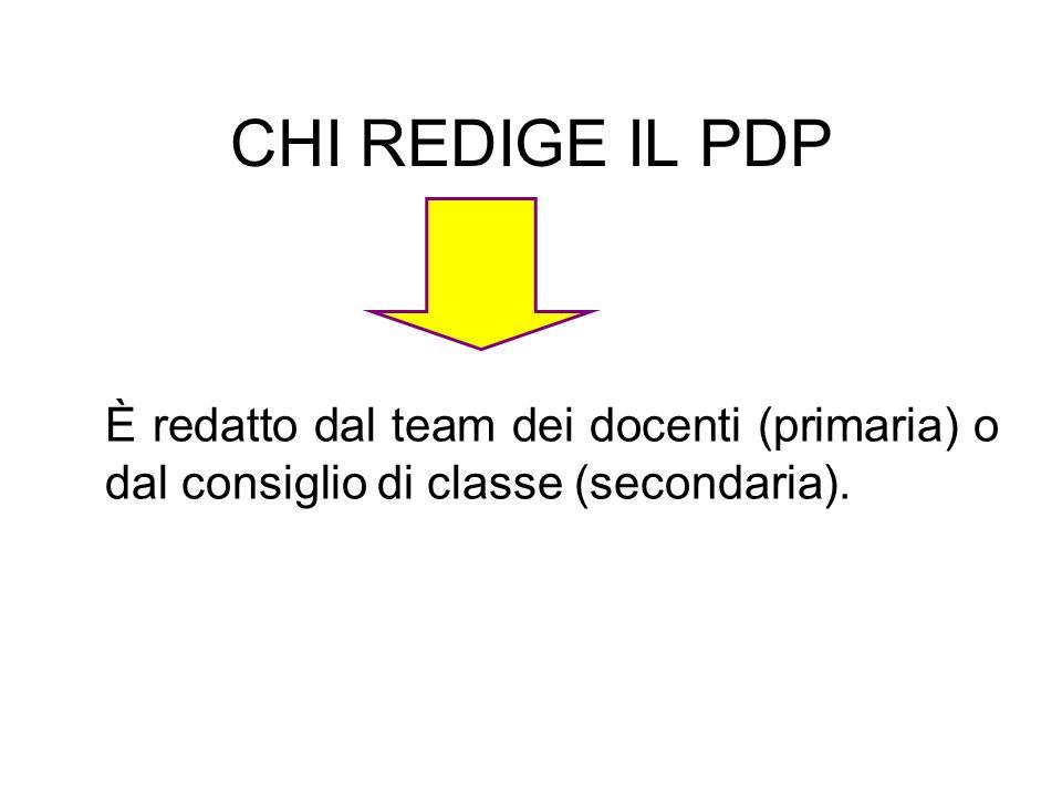 CHI REDIGE IL PDP È redatto dal team dei docenti (primaria) o dal consiglio di classe (secondaria).