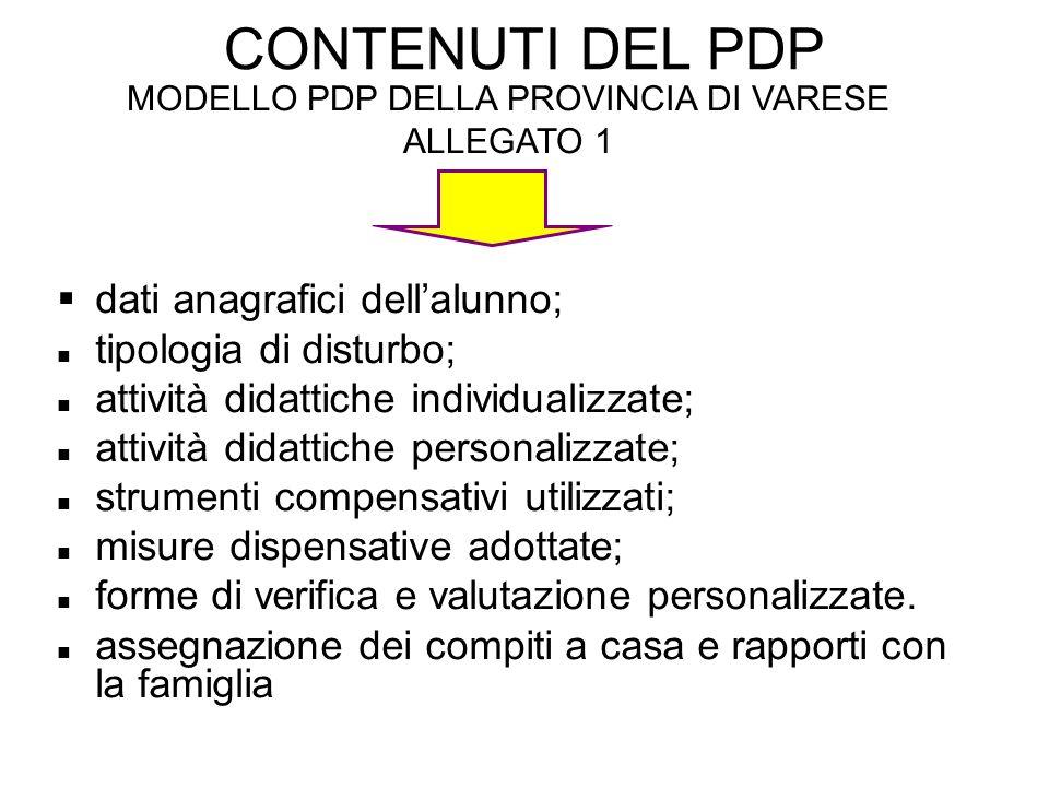 MODELLO PDP DELLA PROVINCIA DI VARESE ALLEGATO 1