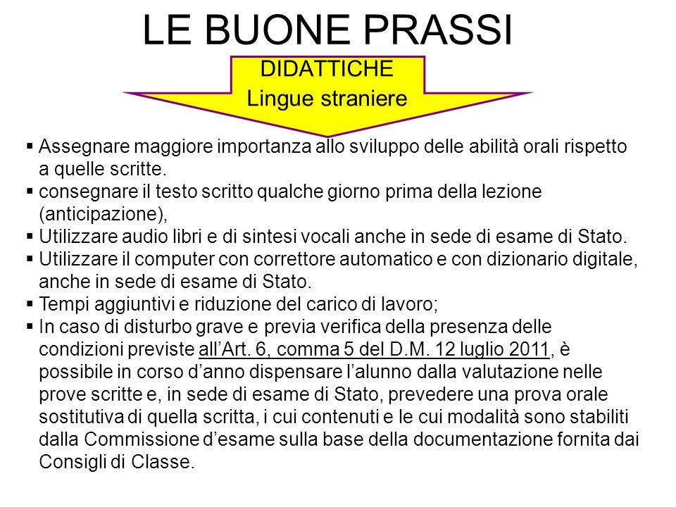 LE BUONE PRASSI DIDATTICHE Lingue straniere