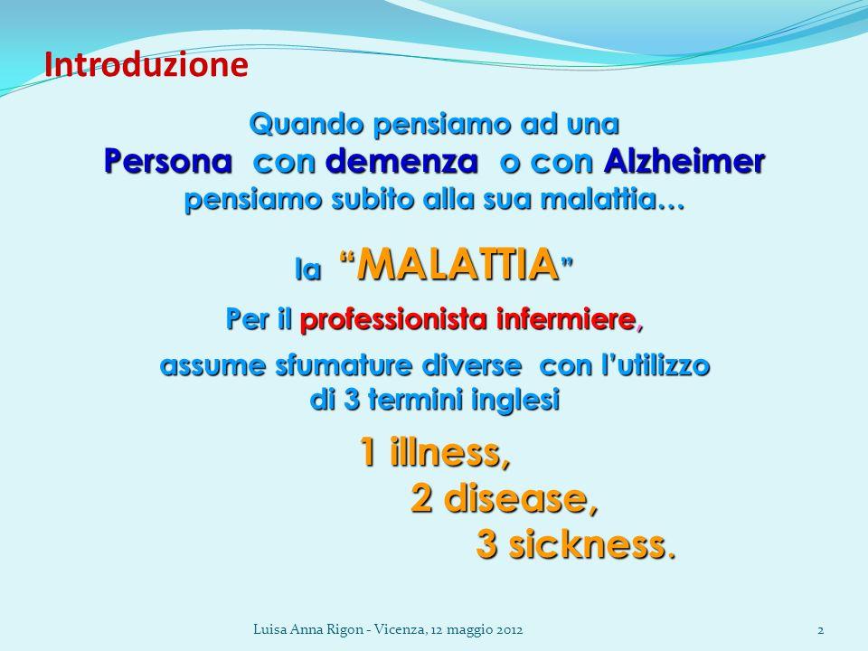 Introduzione 1 illness, 2 disease, 3 sickness.