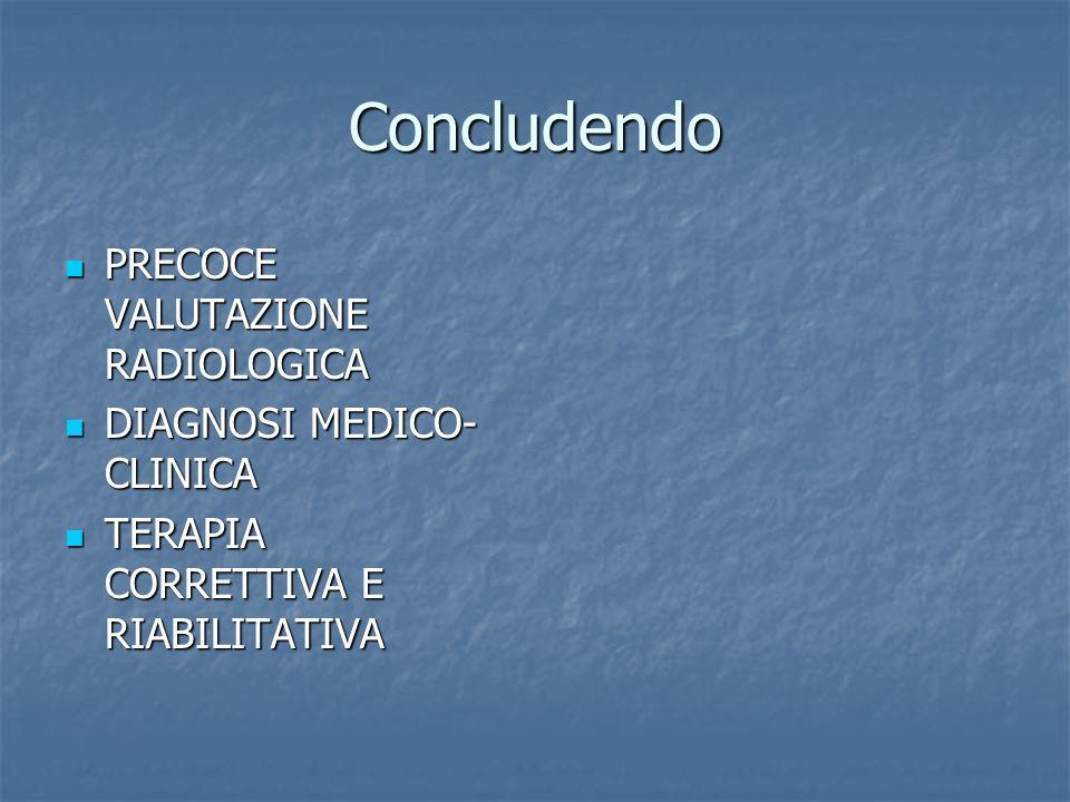 Concludendo PRECOCE VALUTAZIONE RADIOLOGICA DIAGNOSI MEDICO-CLINICA