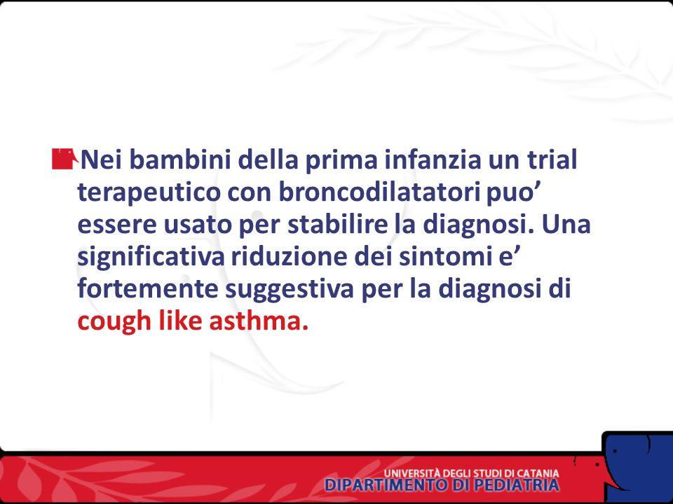 Nei bambini della prima infanzia un trial terapeutico con broncodilatatori puo' essere usato per stabilire la diagnosi.