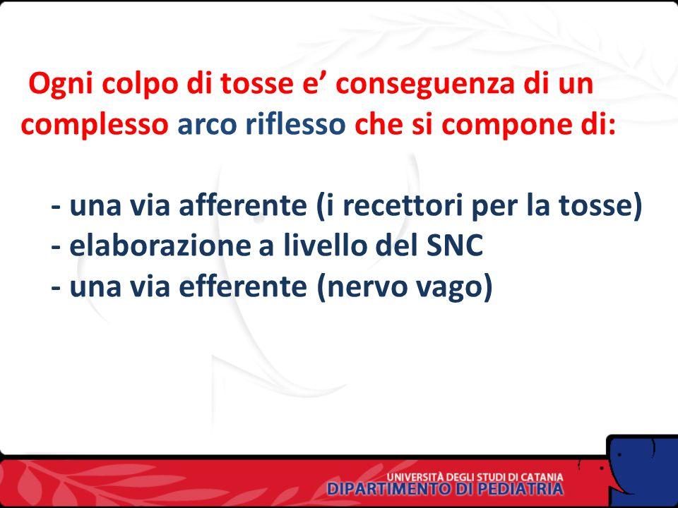 Ogni colpo di tosse e' conseguenza di un complesso arco riflesso che si compone di: - una via afferente (i recettori per la tosse) - elaborazione a livello del SNC - una via efferente (nervo vago)