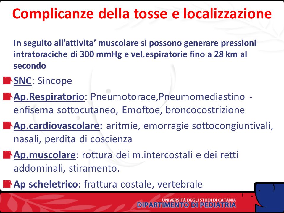 Complicanze della tosse e localizzazione