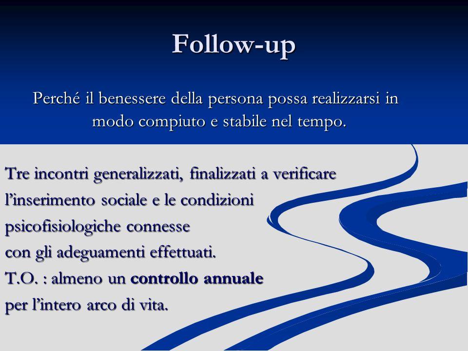 Follow-up Perché il benessere della persona possa realizzarsi in modo compiuto e stabile nel tempo.