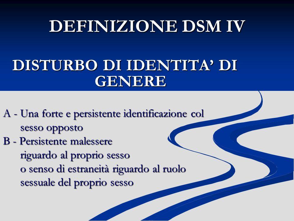 DISTURBO DI IDENTITA' DI GENERE