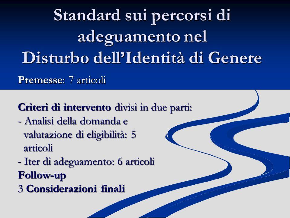 Standard sui percorsi di adeguamento nel Disturbo dell'Identità di Genere