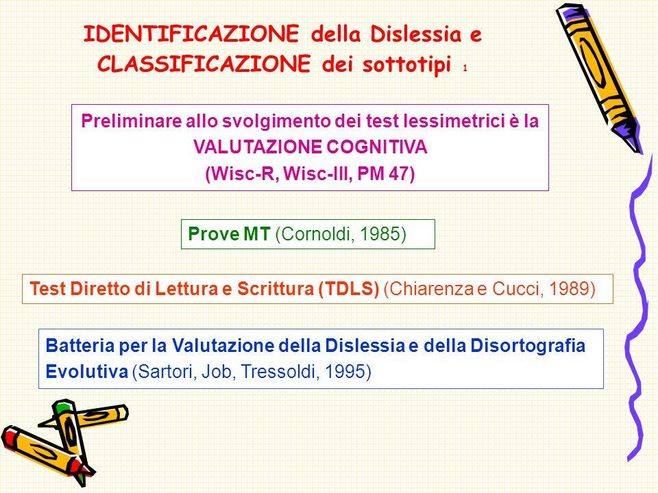 IDENTIFICAZIONE della Dislessia e CLASSIFICAZIONE dei sottotipi 1