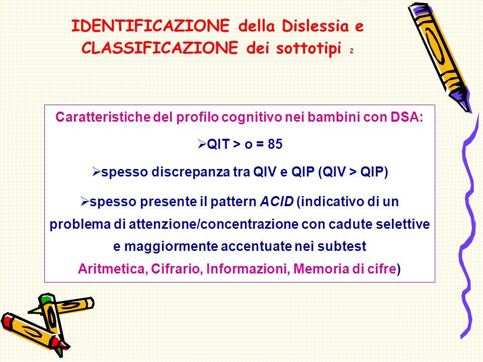 IDENTIFICAZIONE della Dislessia e CLASSIFICAZIONE dei sottotipi 2