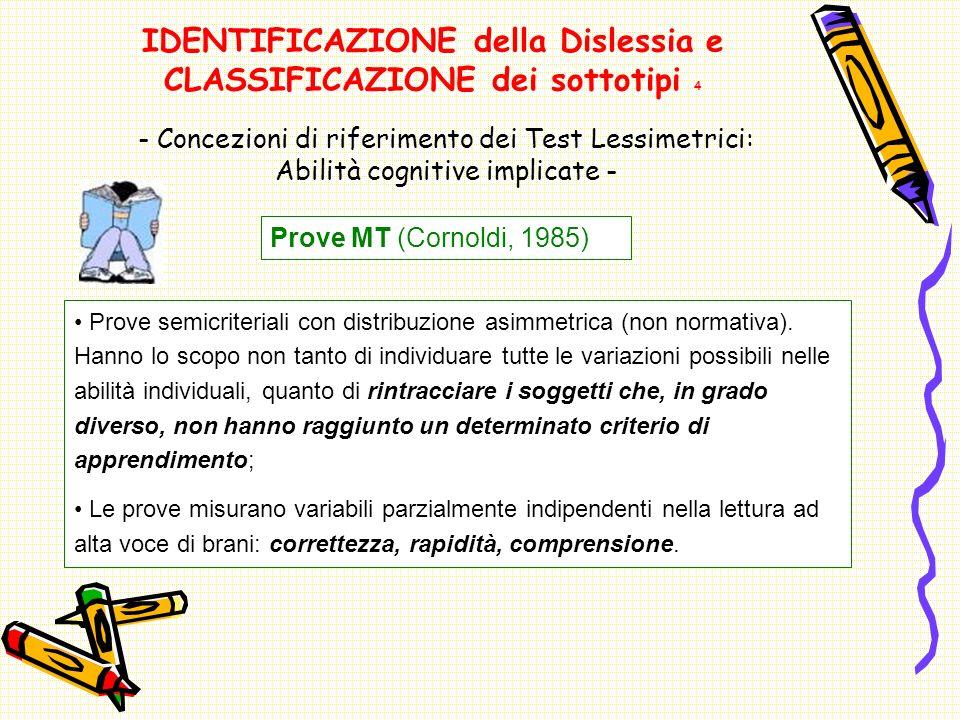 IDENTIFICAZIONE della Dislessia e CLASSIFICAZIONE dei sottotipi 4