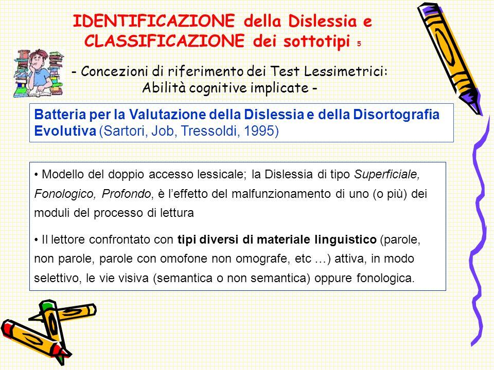 IDENTIFICAZIONE della Dislessia e CLASSIFICAZIONE dei sottotipi 5