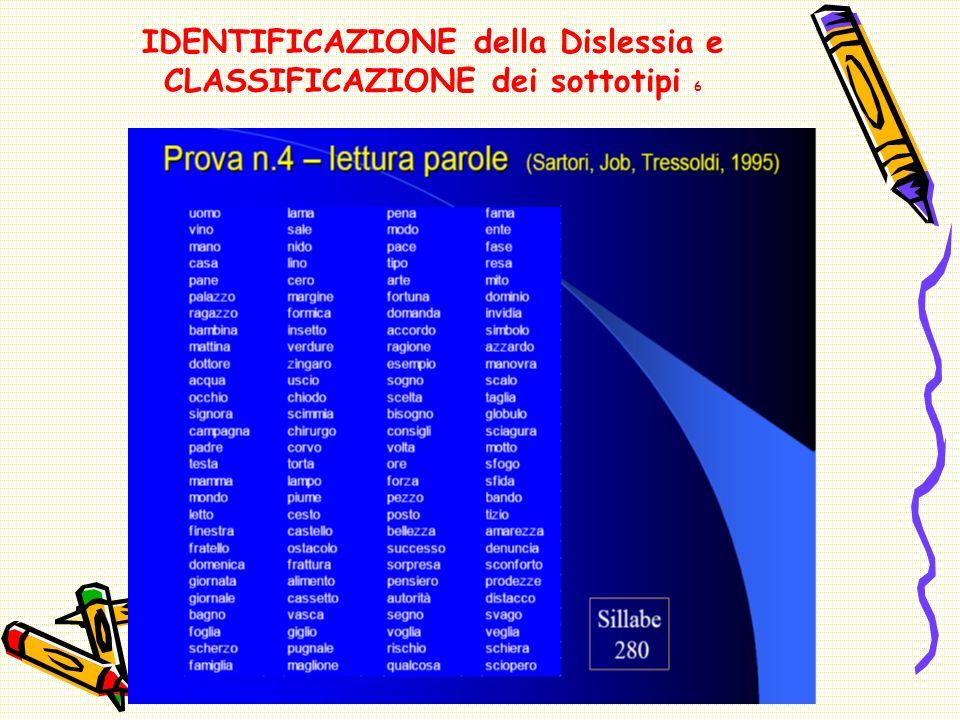 IDENTIFICAZIONE della Dislessia e CLASSIFICAZIONE dei sottotipi 6