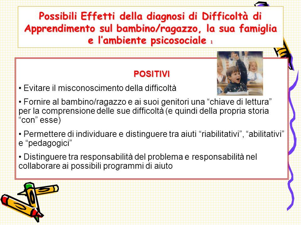 Possibili Effetti della diagnosi di Difficoltà di Apprendimento sul bambino/ragazzo, la sua famiglia e l'ambiente psicosociale 1