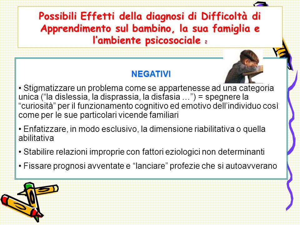 Possibili Effetti della diagnosi di Difficoltà di Apprendimento sul bambino, la sua famiglia e l'ambiente psicosociale 2