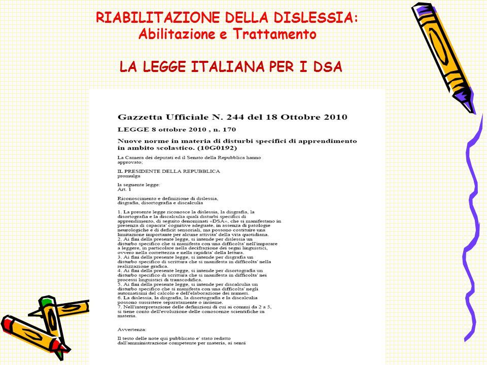 RIABILITAZIONE DELLA DISLESSIA: Abilitazione e Trattamento