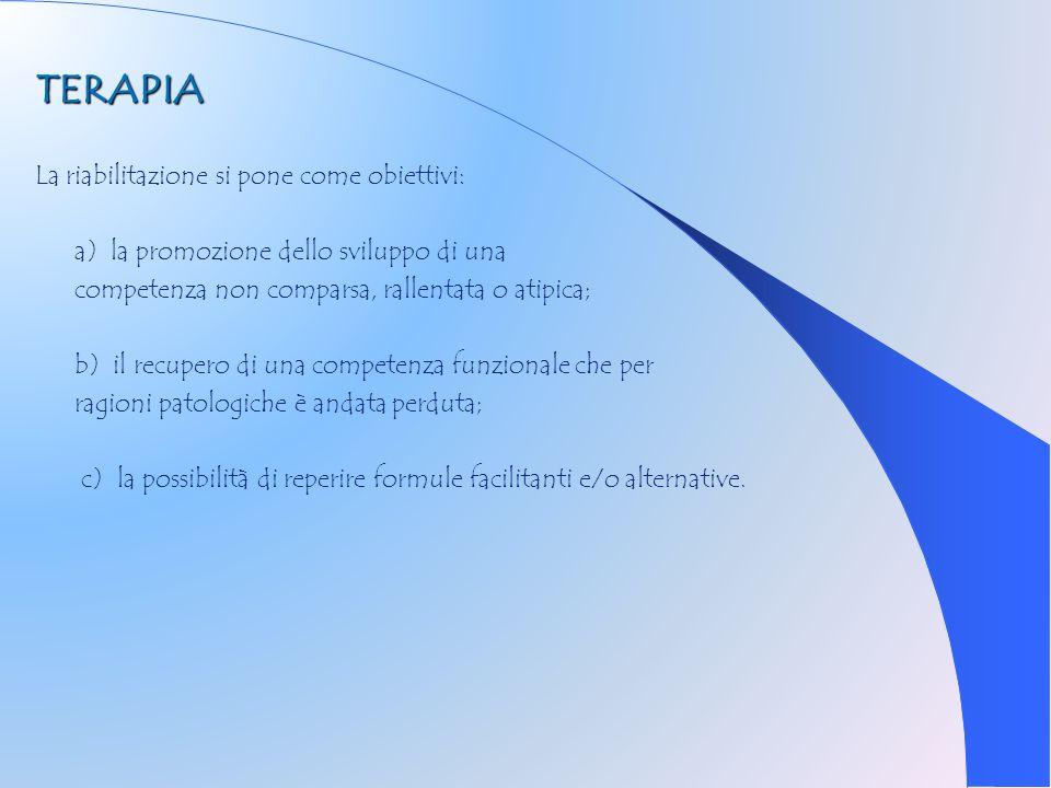 TERAPIA La riabilitazione si pone come obiettivi: