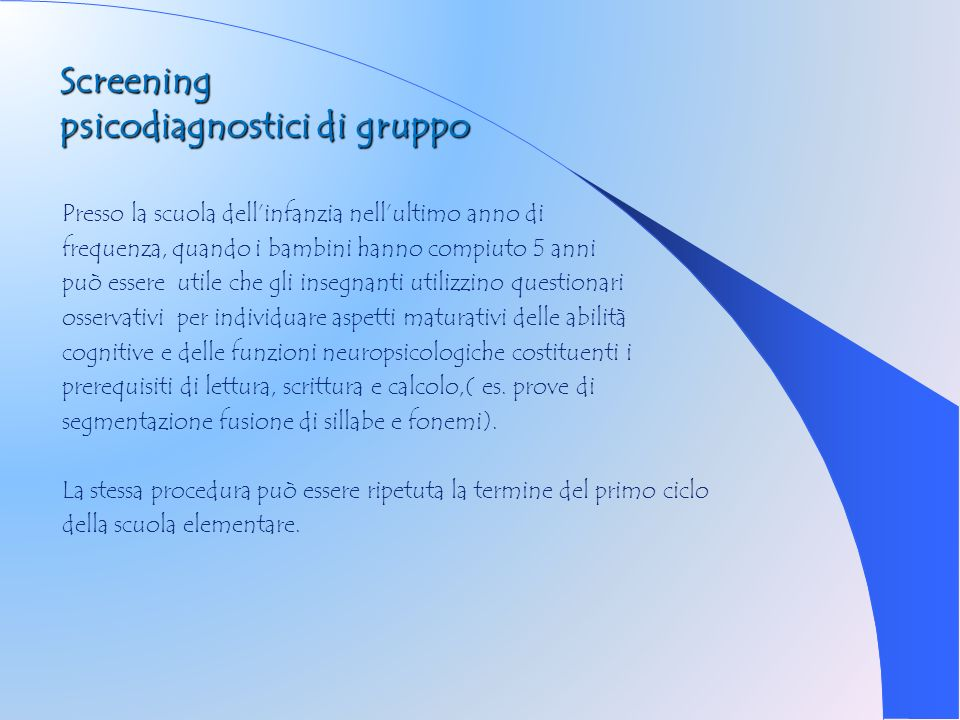 Screening psicodiagnostici di gruppo