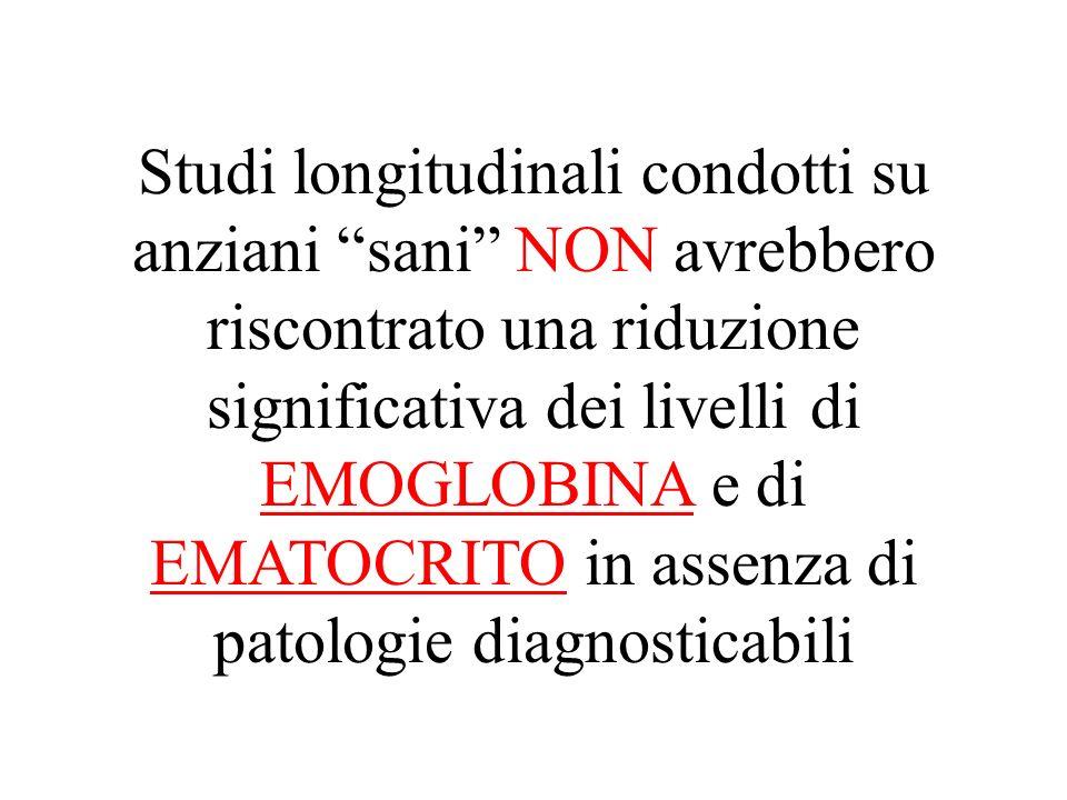 Studi longitudinali condotti su anziani sani NON avrebbero riscontrato una riduzione significativa dei livelli di EMOGLOBINA e di EMATOCRITO in assenza di patologie diagnosticabili