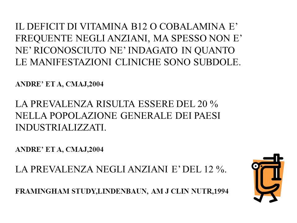 IL DEFICIT DI VITAMINA B12 O COBALAMINA E'