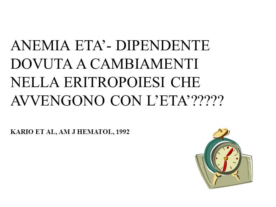 ANEMIA ETA'- DIPENDENTE DOVUTA A CAMBIAMENTI NELLA ERITROPOIESI CHE