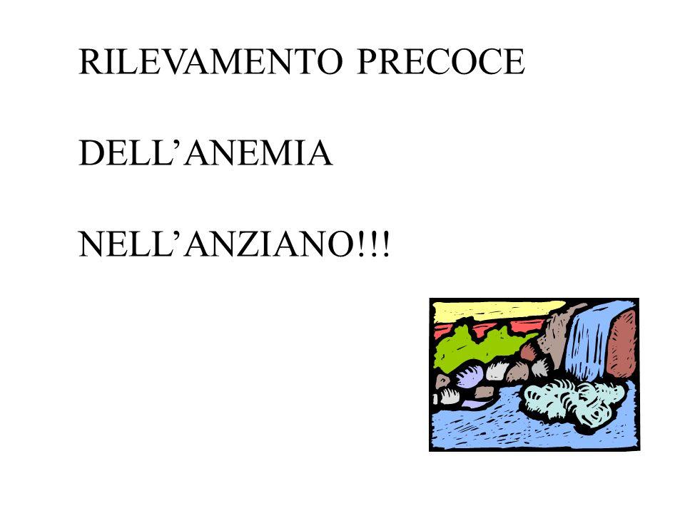 RILEVAMENTO PRECOCE DELL'ANEMIA NELL'ANZIANO!!!