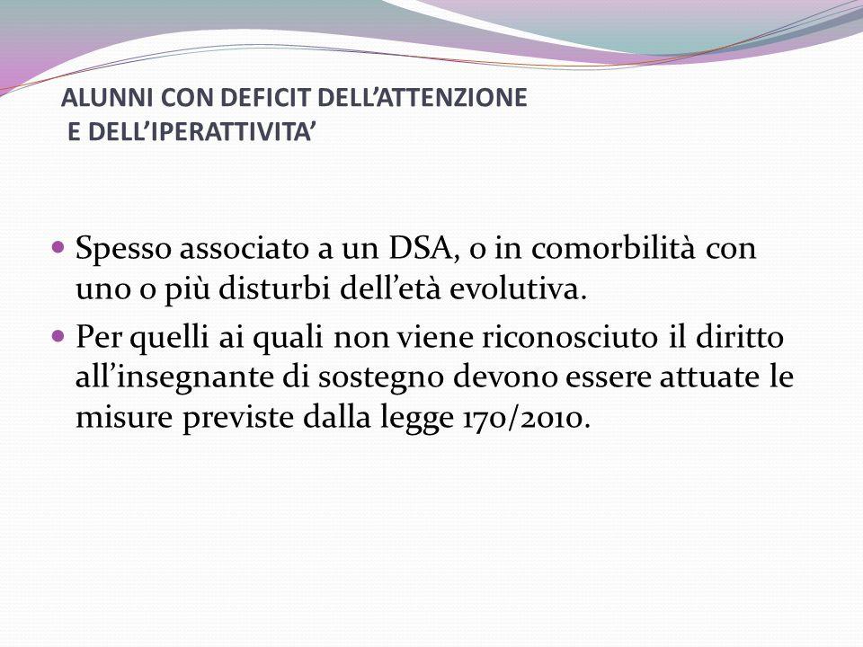 ALUNNI CON DEFICIT DELL'ATTENZIONE E DELL'IPERATTIVITA'