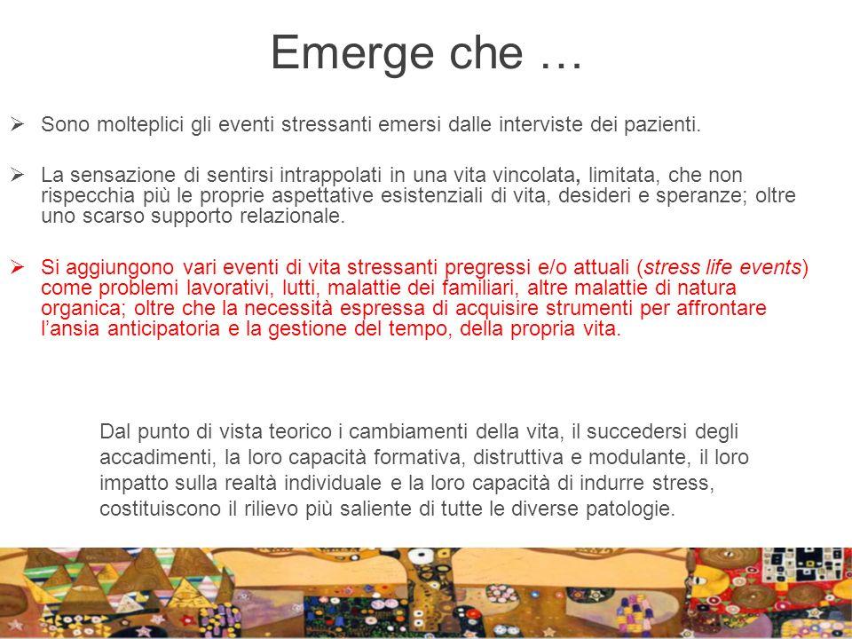 Emerge che … Sono molteplici gli eventi stressanti emersi dalle interviste dei pazienti.