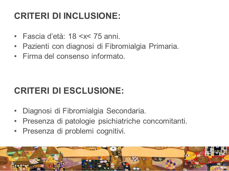 CRITERI DI INCLUSIONE: