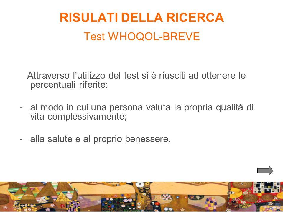 RISULATI DELLA RICERCA Test WHOQOL-BREVE