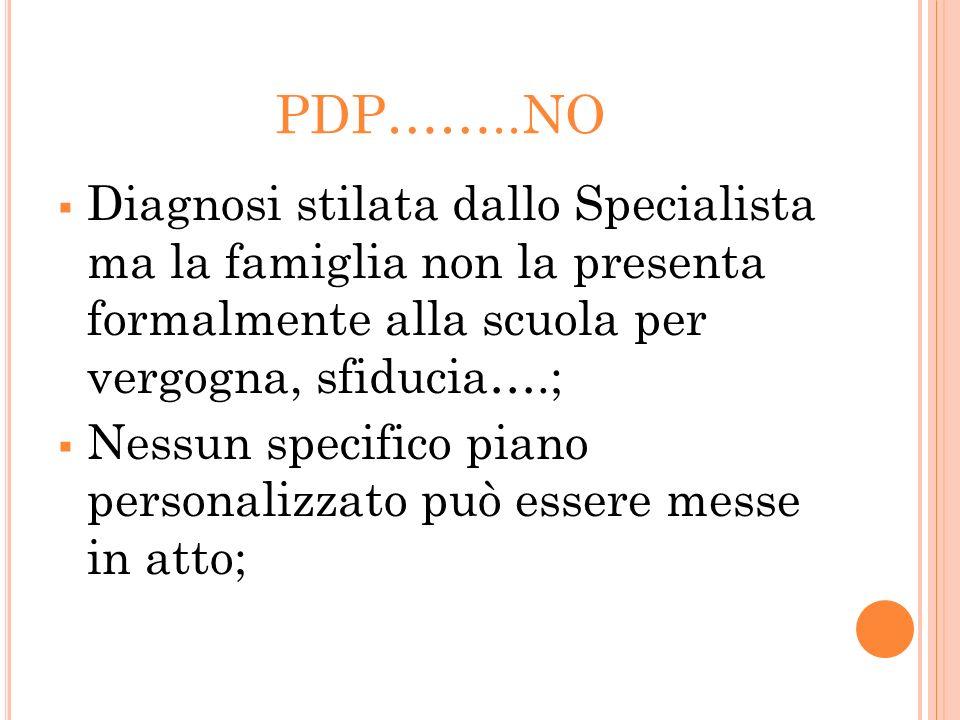 PDP……..NO Diagnosi stilata dallo Specialista ma la famiglia non la presenta formalmente alla scuola per vergogna, sfiducia….;