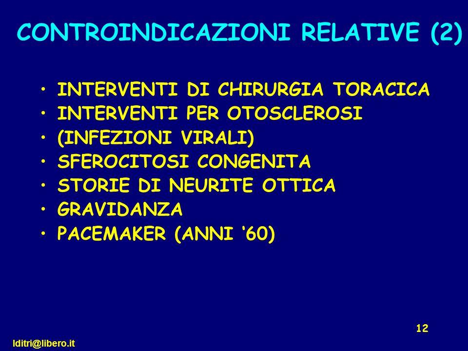 CONTROINDICAZIONI RELATIVE (2)