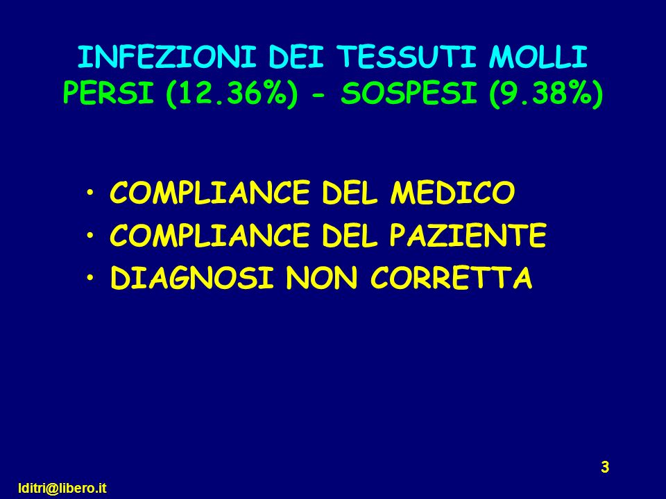 INFEZIONI DEI TESSUTI MOLLI PERSI (12.36%) - SOSPESI (9.38%)