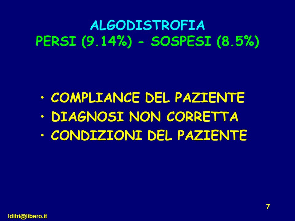 ALGODISTROFIA PERSI (9.14%) - SOSPESI (8.5%)
