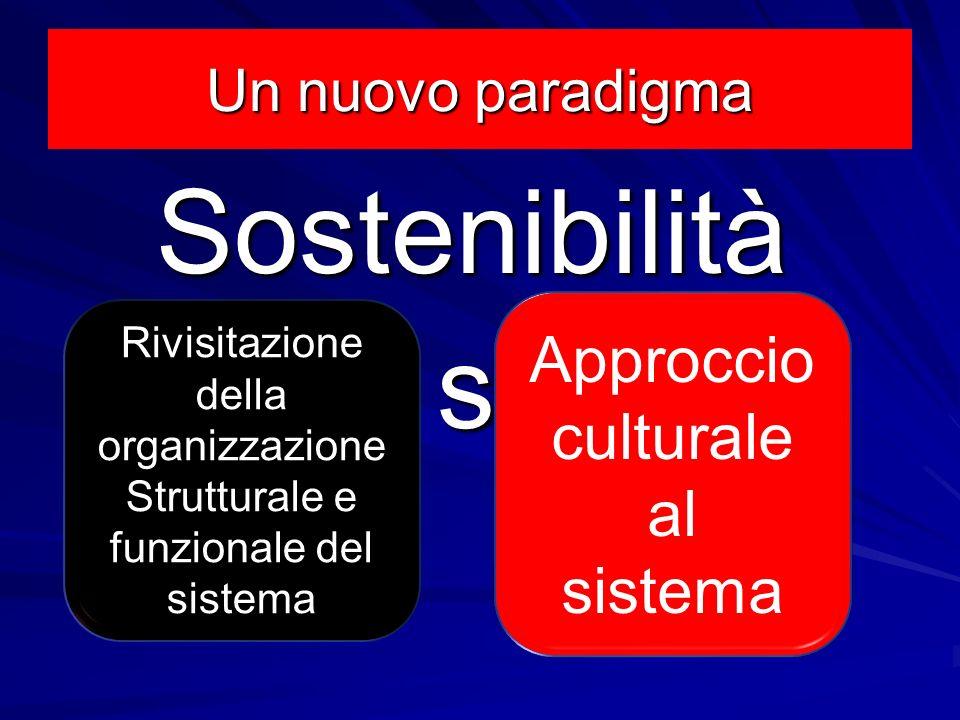 Sostenibilità delle scelte Approccio culturale al sistema