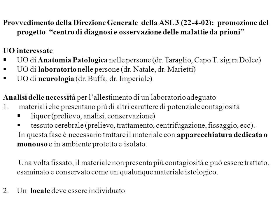 Provvedimento della Direzione Generale della ASL 3 (22-4-02): promozione del progetto centro di diagnosi e osservazione delle malattie da prioni