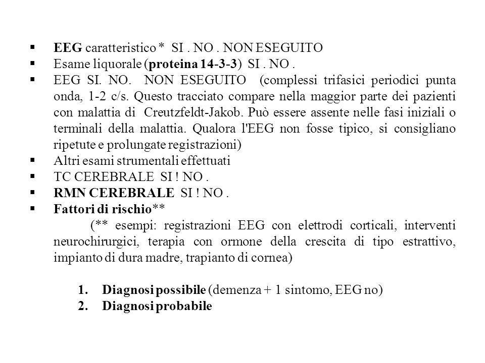 EEG caratteristico * SI . NO . NON ESEGUITO