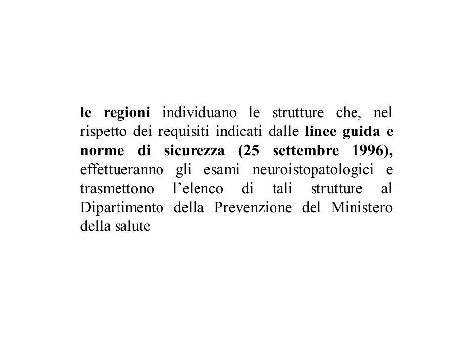 le regioni individuano le strutture che, nel rispetto dei requisiti indicati dalle linee guida e norme di sicurezza (25 settembre 1996), effettueranno gli esami neuroistopatologici e trasmettono l'elenco di tali strutture al Dipartimento della Prevenzione del Ministero della salute