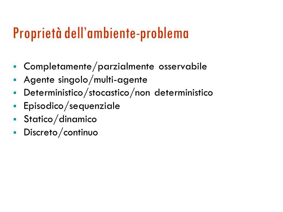 Ambienti Per definire un problema dobbiamo anche considerare l'ambiente in cui l'agente opera (ambiente operativo)